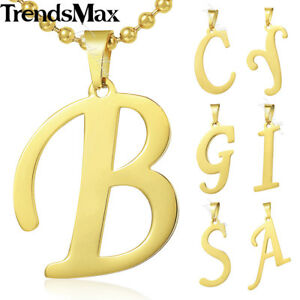 A z gold stainless steel 26 initial letter pendant necklace men image is loading a z gold stainless steel 26 initial letter pendant aloadofball Images