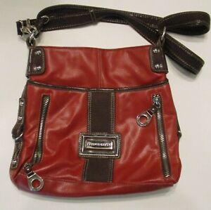 Handbag Purse Red Brown Leather Nice