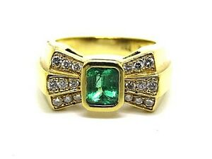 1-50ct-EMERALD-amp-Diamantes-1-10ct-oro-amarillo-18-quilates-LAZO-Anillo-Tamano