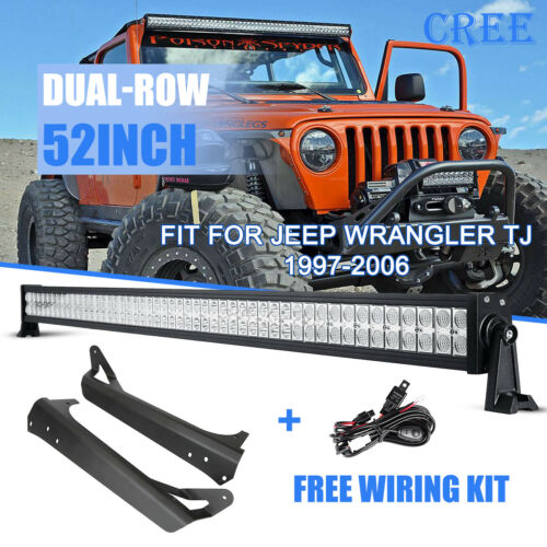 Mount Brackets Kit For Jeep Wrangler TJ 97-06 52inch 700W CREE LED Light Bar