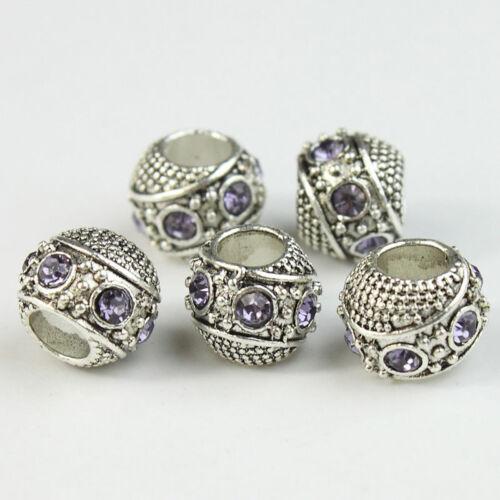 5X Clear Czech Crystal Shiny Charm Beads Big Hole Spacer Fit European Bracelet