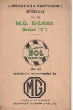 MG SERIES Y  TYPE ORIGINAL N.O.L LUBRICATION & MAINTENANCE SERVICE SCHEDULE BOOK