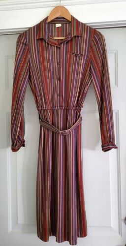 Killer Vintage 1970's Mutlicolored Striped Belted