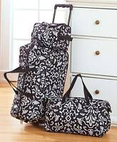 Black Damask 3 Pc Luggage Travel Set Rolling Duffel Tote Toiletry/cosmetic Bag