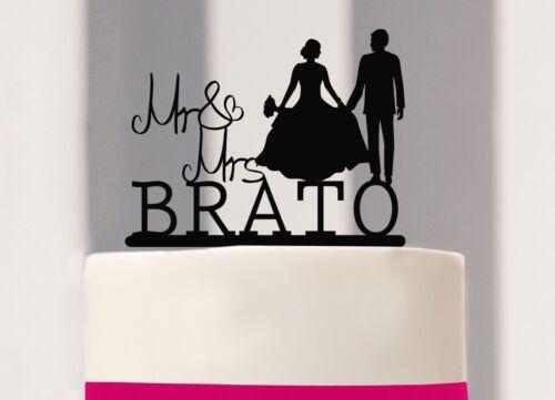 mariés au Mariage cake topper Mr /& Mme Avec Nom Gâteau connecteur
