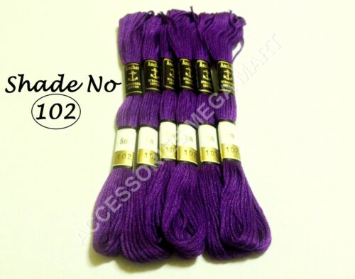 6 Anchor Embroidery Cross Stitch Threads Floss Solid Purple skeins 8m Each
