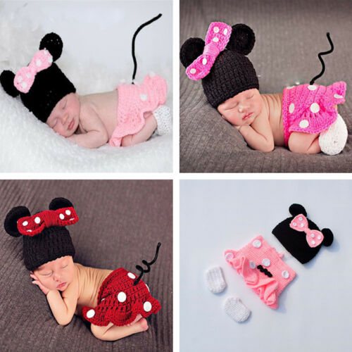 3pcs//sets Newborn Baby Girls Crochet Knit Costume Photo Photography Prop Outfits