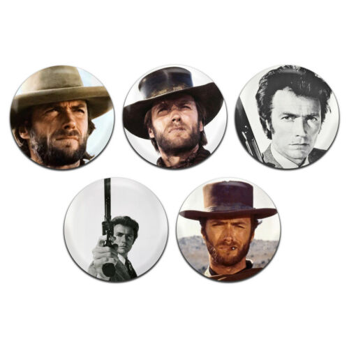1 Inch D Pin Button Badges 5x Clint Eastwood Actor Movie Western 25mm