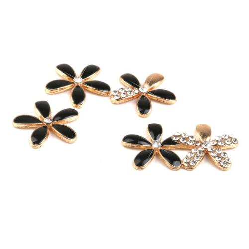 Black Flower DIY Mobile Phone Case Bling Alloy Crystal Deco Den Kit 25pcs