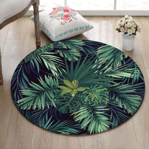 Round Carpet Living Room Area Rug Non-slip Floor Mat Tropical Green Palm Leaves