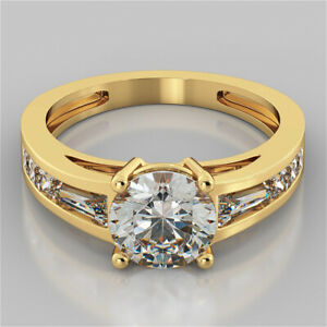 2.36 Ct Round Genuine Moissanite Engagement Ring 14K Solid Yellow Gold Size 9.5