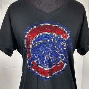 26d0e042b3f Women s Chicago Cubs Cubbies Rhinestone baseball Vneck T-Shirt Tee ...