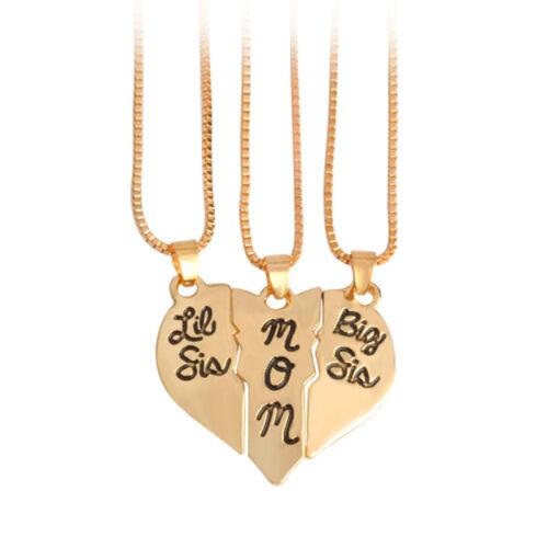 """Collar de Letras /""""Little SIS Mamá Grande Sis/"""" amor corazón colgante familia PIP UK 3 un"""
