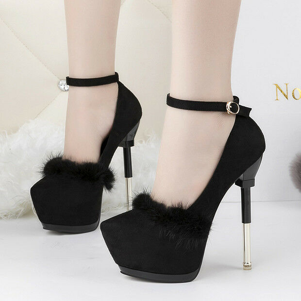 modelo más vendido de la marca decolte scarpe invernali 15  stiletto nero pelliccia simil pelle comode 9556
