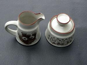 NORITAKE-stoneware-DESERT-FLOWERS-pattern-Creamer-amp-Lidded-Sugar-Bowl-Set