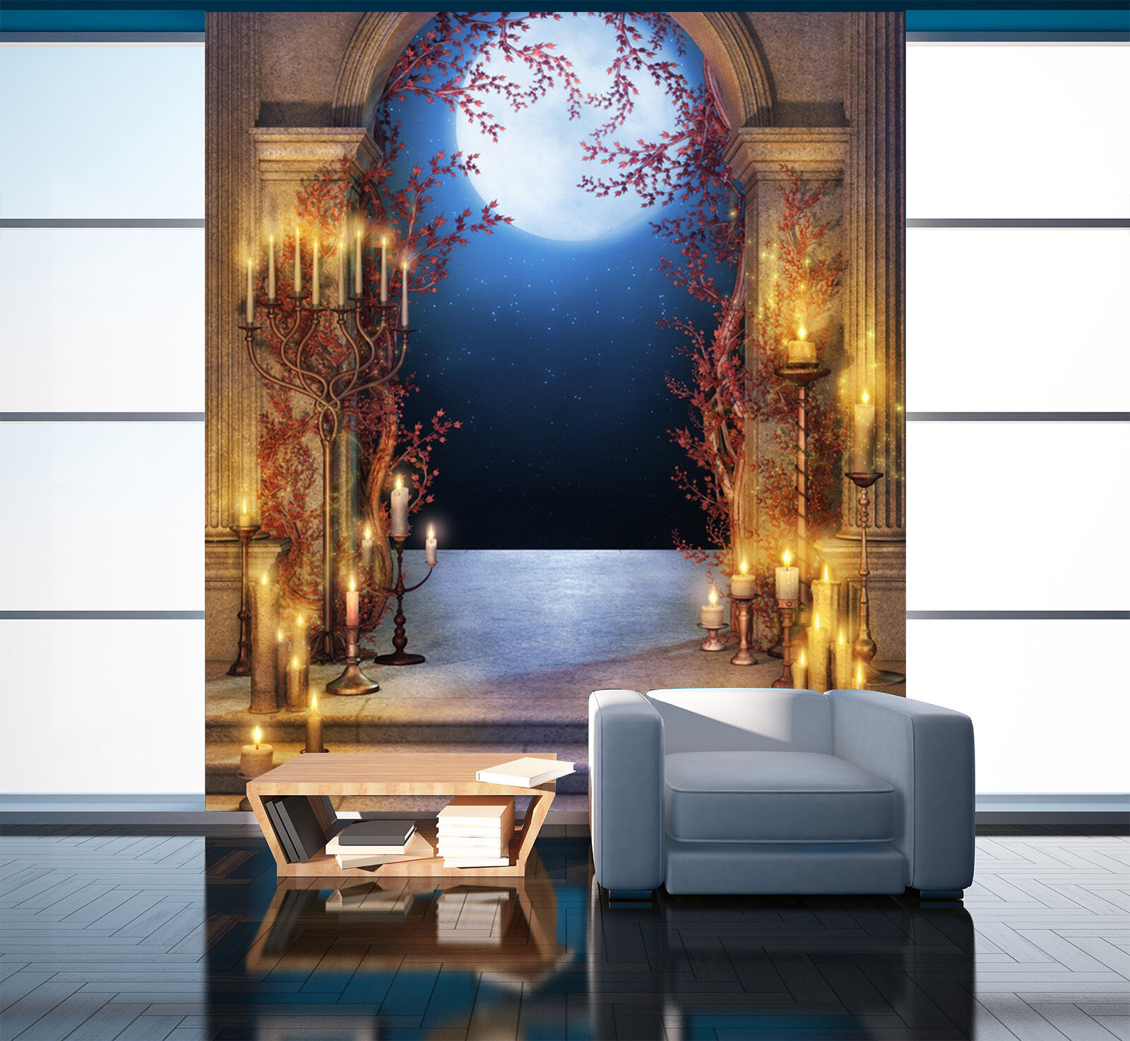 3D Arches Full Moon 1786 Paper Wall Print Wall Decal Wall Deco Indoor Murals