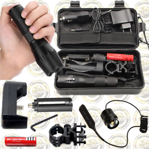 Litwod-XM-L2-U2-Tactical-ZOOM-LED-Torch-Kit-Remote-PRESSURE-SWITCH-amp-RAIL-MOUNT