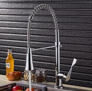 Brass Kitchen Faucet Double Sprayer Nozzle Spout Swivel Mixer Chrome