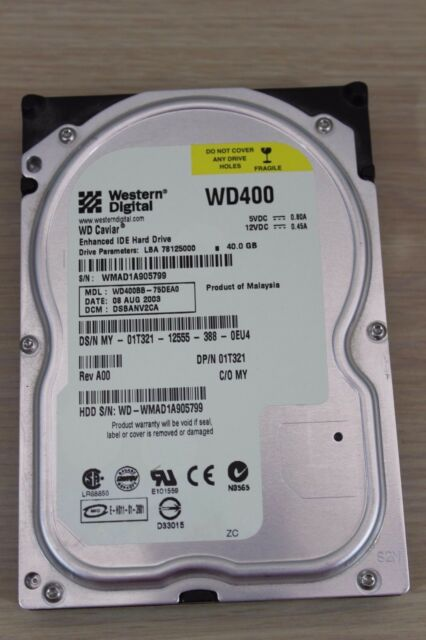 Western Digital Caviar WD400BB-75DEA0 40GB HDD from Tower Computer Hard Drive