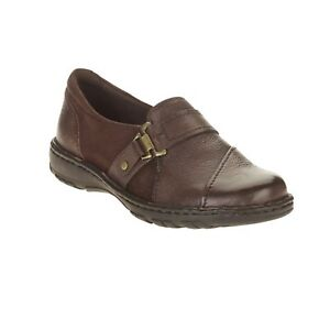 Earth-Spirit-Womens-Brown-Leather-Neli-Casual-Slip-on-Shoe-Loafer-Bark-NWT