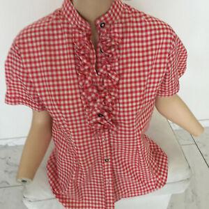 großer Rabatt besser großer Rabatt Details zu Trachten-bluse Dirndlbluse Damen Bluse Rot Weiß Kariert 38  Kurzarm Rüschen