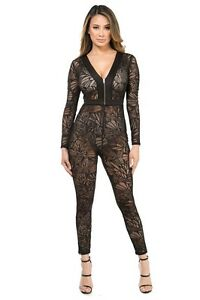 b127c0949f Women Bodycon Full Length Bodysuit Black Sheer Lace Catsuit Jumpsuit ...