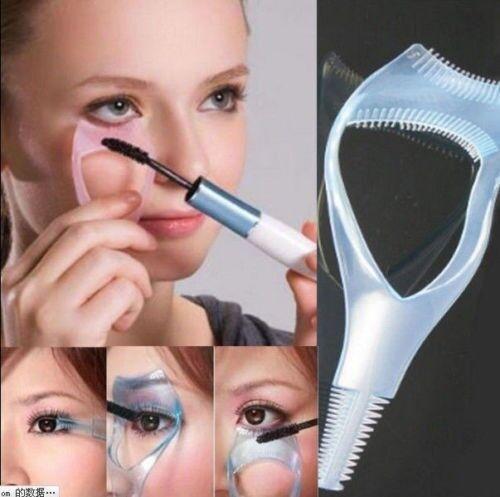 3 in 1 Cosmetic Tool Makeup Eyelash Curler Guard Applicator Comb  Mascara Brush