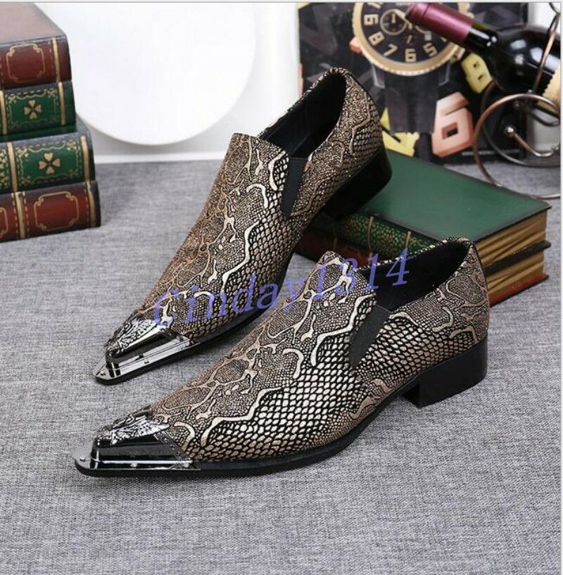Fashion Uomo Slip On Leather Metal Pointy Toe Business Work Pumps Casual Shoes