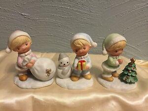 homco vintage home interiors 3 pc set christmas figurines 5613 ebay