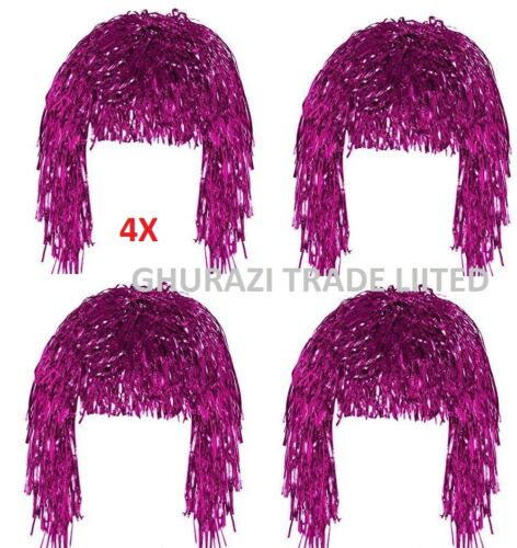 Set Of 4 Tinsel Wig Pink Shiny Metallic Foil  70s 80s Fancy Dress Wig Accessory