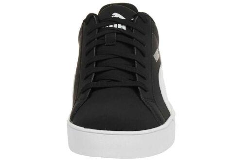 White PUMA Mens Smash Vulc Leather Trainers Shoes 359622-09 Black