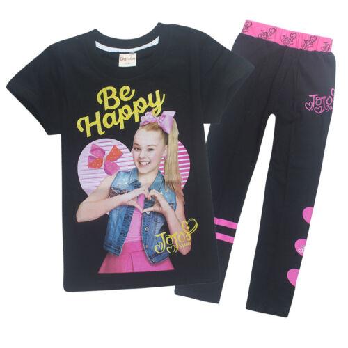 New Kids Girls JoJo Siwa Summer 100/% Cotton Short Sleeve T-shirt Tops+trousers