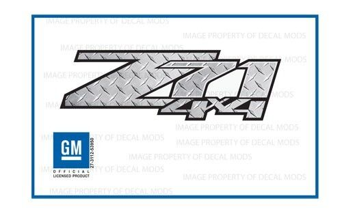 set of 2 2007-2013 GMC Sierra Z71 4x4 Decals DPS Diamond Plate Silver chrome