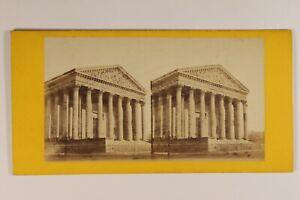 Francia Parigi L Chiesa Da La Madeleine c1865 Foto Stereo Vintage Albumina