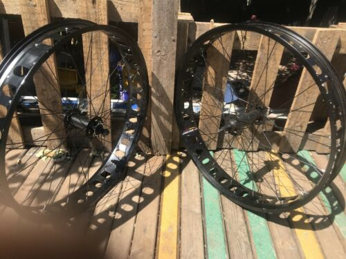"""Fat Bike 26/"""" Pair Of Black Rims Only 3.25"""" Wide Easy Fit 4""""tire Disc Brake"""