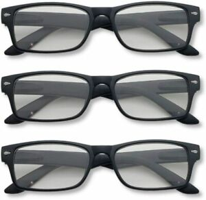 Reading Glasses with Spring Hinges Designer Style for Men or Woman Value Pack of