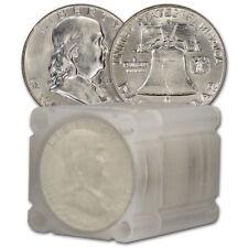 $10 Face Value Franklin Half Dollars 90% Silver 20-Coin Roll AU/BU
