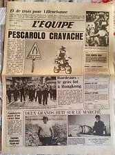 L'Equipe Journal 9/01/1985; Villeurbanne/ Pescarolo/ Quinon/ Bordeaux-Hongkong