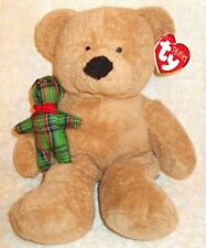 TY BEANIES PLUSH PLUFFIES BEAR BEARY MERRY WITH RED GREEN PLAID BABY BEAR MWT