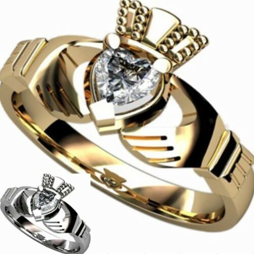 Taille 5-10 Acier Inoxydable Coeur Claddagh Ring Gold Celtic Knot Irlandais Mariage