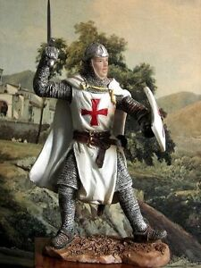 Hand Painted Medieval Crusader Knight Figure Realistic Perfect Gift 20 cm//7.87 /""