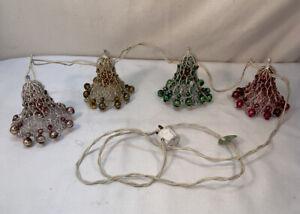 Vtg 40-50's USA Underwriters Laboratories 4 Glass Bulb Mesh Bells Garland WORKS