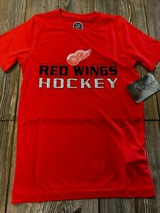 NWT Boys Detroit Red Wings Cute Red Short Sleeve Performance T-Shirt Small 8