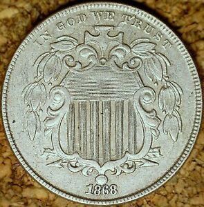 1868 Shield Nickel - AU+ LATHE LINES & OBVERSE CRACKS, DATE ON BALL (M054)