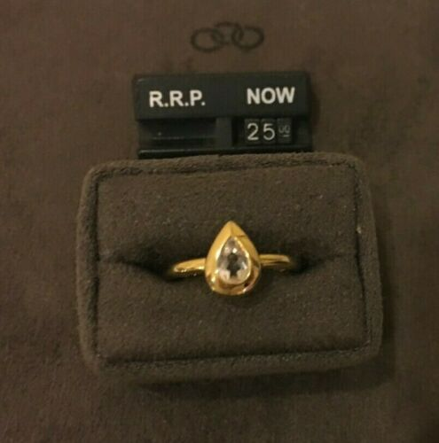Links of London Yellow Gold Vermeil//White Topaz Rose Dew Ring RRP £67