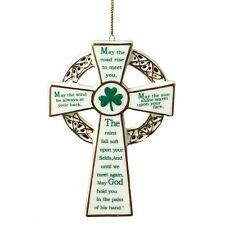 """Porcelain IRISH BLESSING CROSS Christmas Ornament, 4.75"""" Tall, by Kurt Adler"""