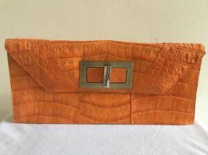 PAOLA-DANGOND-Orange-Crocodile-Clutch-Bag-Handbag