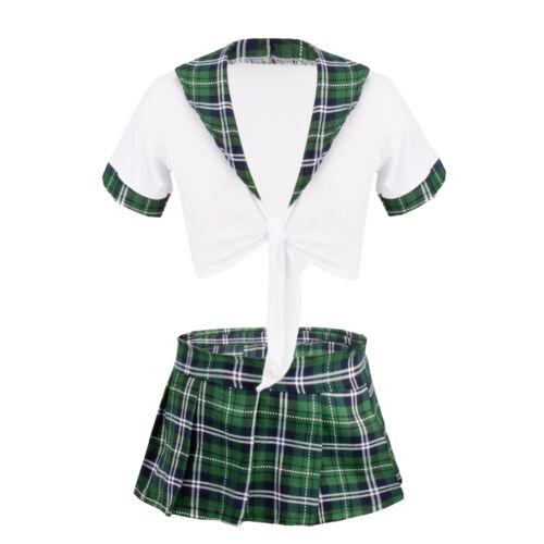 Women Naughty School Girl Uniform Plaid Fancy Dress Costume Crop Top Shirts UK