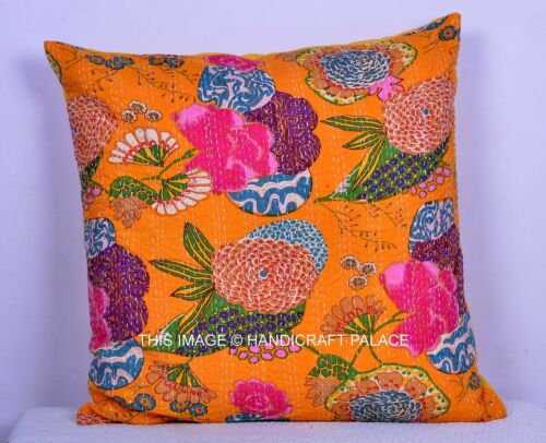 """Jaune 24/"""" Coussin Pillow Cover Handmade Cotton Kantha Quilted Sol Décor Inde"""
