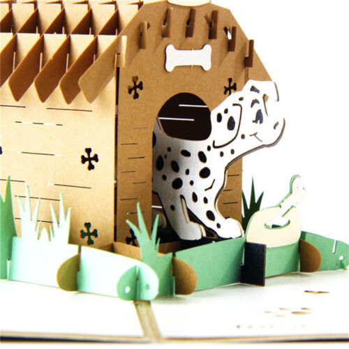 3D up postcards for birthday laser cut greeting cards Pet dog Animal giftsJB